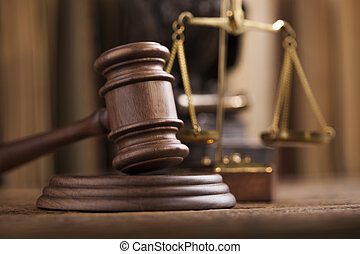 juez, tema, martillo, mazo