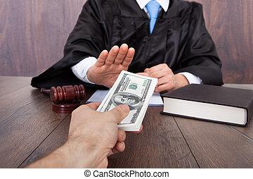 juez, toma, cliente, soborno