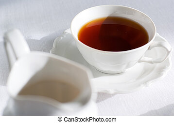 jug., お茶, ミルク, カップ