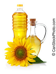 Jug and bottle of sunflower oil with flower isolated