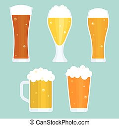 Jug and glass of beer collection, flat design vector