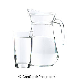 Jug and glass with water isolated on white background
