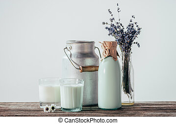 fresh milk with flowers