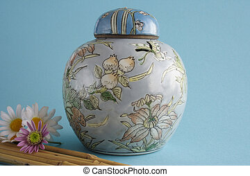 Jug - Chinese jug with tap in blue background