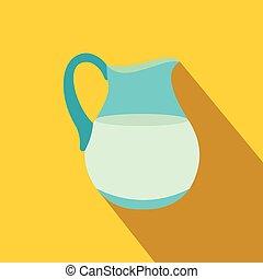 Jug of milk flat icon