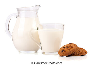 jug of milk with oatmeal cookies isolated on white background