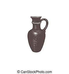 Clay jug hand drawing. Sketch jug