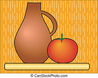 Jug with a tomato