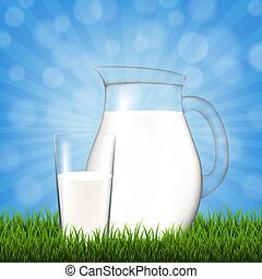 Jug With Glass And Blue Sky Grass Border