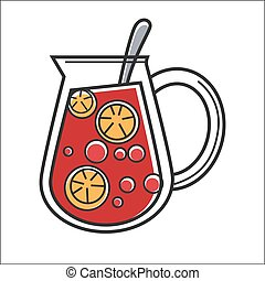 Jug with lemonade - Vector illustration of jug with red ...