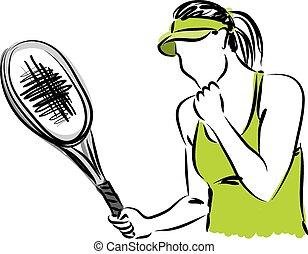 jugador, 2, ilustración, tenis