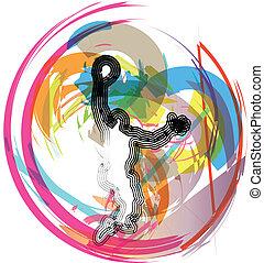 jugador, action., vector, baloncesto