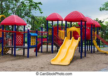 jugador, al aire libre, niños, patio de recreo, park.