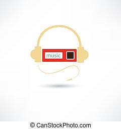 jugador, auriculares, mp3