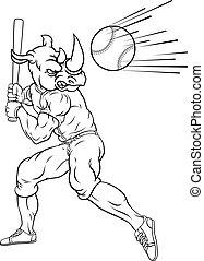 jugador béisbol, balanceo, murciélago, rinoceronte, pelota, ...
