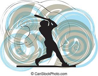 jugador béisbol, en, action., vector
