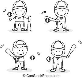 jugador béisbol, niño
