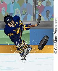 jugador, búfalo, hockey, hielo