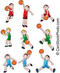 jugador, baloncesto, caricatura, icono