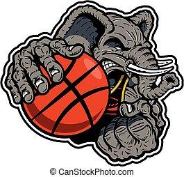 jugador, baloncesto, elefante