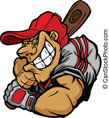 jugador, beisball, caricatura, bateo, vec