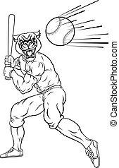 jugador, beisball, pantera, mascota, murciélago, balanceo