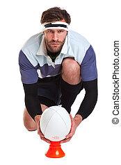 jugador, blanco, corte, rugby, afuera