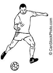 jugador, bosquejo, pelota, atleta, fútbol