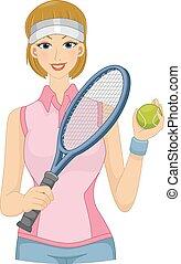 jugador, césped, tenis, niña