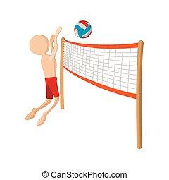 jugador, caricatura, voleibol, icono