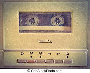 jugador, cassette, utilizado, viejo, fondo.