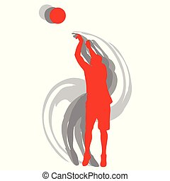 jugador de baloncesto, en acción, vector, plano de fondo, concepto