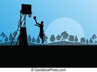 jugador de baloncesto, paisaje, vector, plano de fondo, concepto