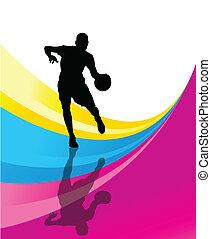 jugador de baloncesto, vector, resumen, plano de fondo, concepto