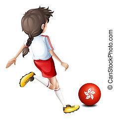 jugador de la bola, utilizar, hong kong