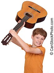 jugador de la guitarra, enojado