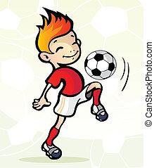 jugador del fútbol, con, pelota