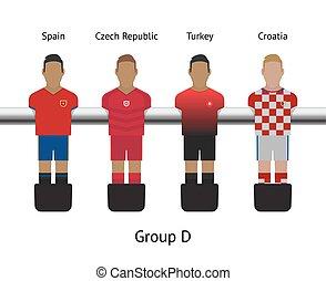 jugador del fútbol, foosball, game., set., fútbol, república...
