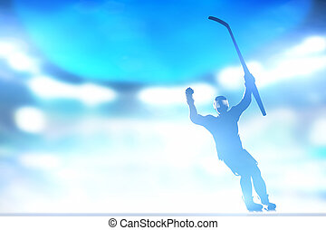 jugador del hockey, celebrar, meta, victoria, con, manos, y,...