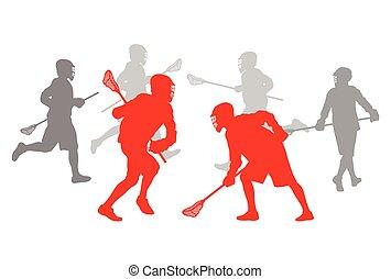 jugador del lacrosse, en acción, ganador, concepto, vector, plano de fondo