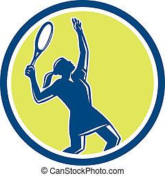 jugador del tenis, hembra, raqueta, círculo, retro