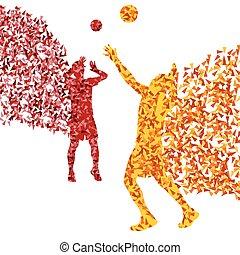 jugador del voleibol, hombre, silueta, resumen, vector, plano de fondo