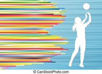 jugador del voleibol, mujer, silueta, resumen, vector, plano de fondo
