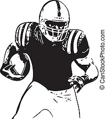 jugador, fútbol americano, ilustración