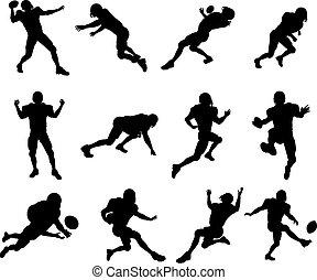 jugador, fútbol americano, silueta
