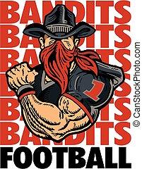 jugador, fútbol, bandidos