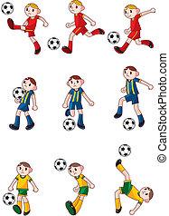 jugador, fútbol, caricatura, icono