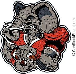 jugador, fútbol, elefante