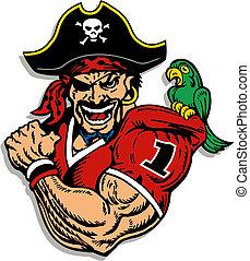 jugador, fútbol, pirata