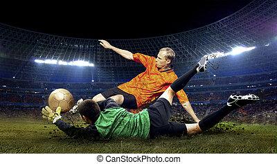 jugador, fútbol, salto, campo, estadio, noche, portero